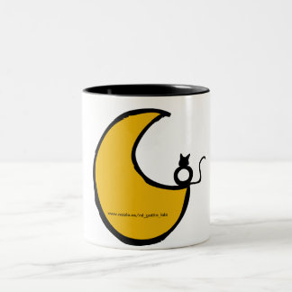 The cat and the moon Two-Tone mug