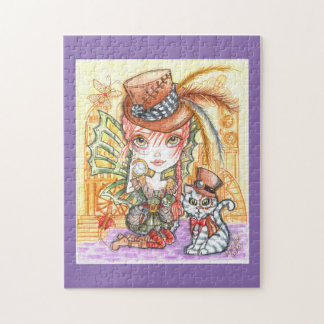 The Cat and The Steampunk Girl Art Puzzle