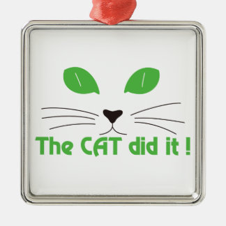 The Cat Did It! Square Metal Christmas Ornament