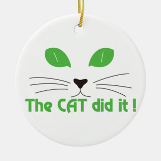 The Cat Did It! Double-Sided Ceramic Round Christmas Ornament