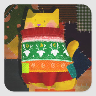 The Cat in the Ugly Sweater Square Sticker