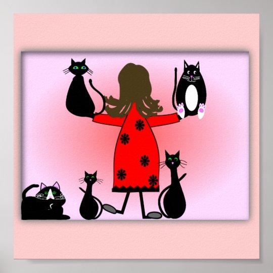"""The Cat Lady"" Art Print, Black Cats Design~~"