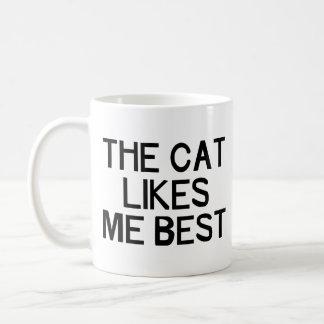 The Cat Likes Me Basic White Mug