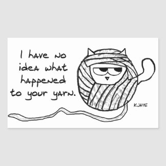 The Cat Steals Your Yarn - Funny Cat Stickers