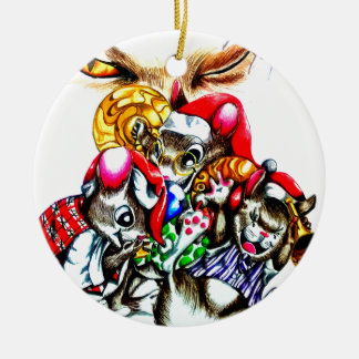 The Cat That Stole Christmas Round Ceramic Decoration