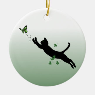 The Cat & The Butterfly Round Ceramic Decoration
