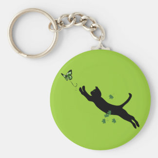 The Cat & The Butterfly Version 2 Basic Round Button Key Ring