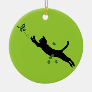 The Cat & The Butterfly Version 2 Christmas Ornament
