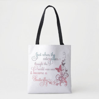 """The caterpillar becomes the butterfly"" tote bag"