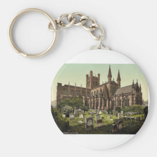 The cathedral, Chester, England vintage Photochrom Basic Round Button Key Ring