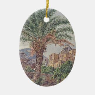 The Cathedral of Capri by Rudolf von Alt Ceramic Oval Decoration