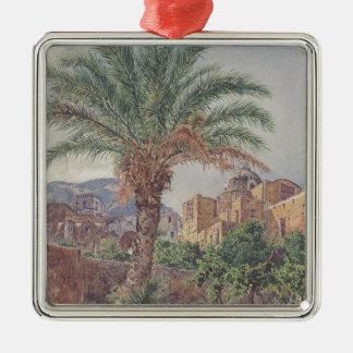 The Cathedral of Capri by Rudolf von Alt Silver-Colored Square Decoration