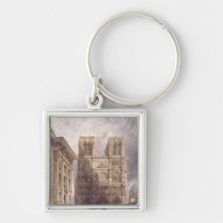 The Cathedral of Notre Dame, Paris, 1836 Silver-Colored Square Key Ring
