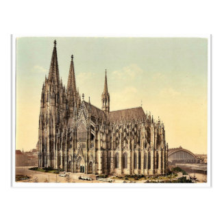 The cathedral, side, Cologne, the Rhine, Germany r Postcard