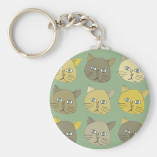 the cats basic round button key ring