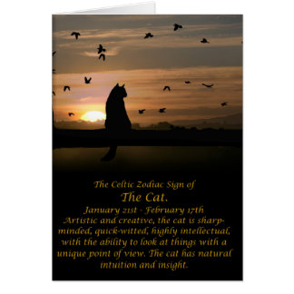 The Celtic Zodiac Sign of the Cat (Aquarius) Greeting Card