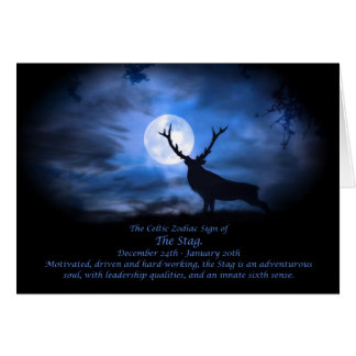 The Celtic Zodiac Sign of  The Stag Greeting Card