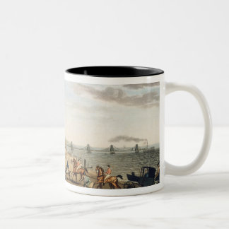 The Chain Pier at Brighton with Characters (etchin Two-Tone Coffee Mug