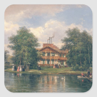 The Chalet with  Yellow Door in Bois de Square Sticker