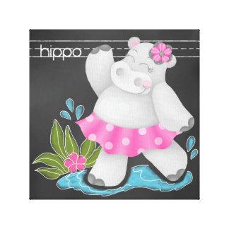 The Chalkboard Jungle: Hippo Canvas Print