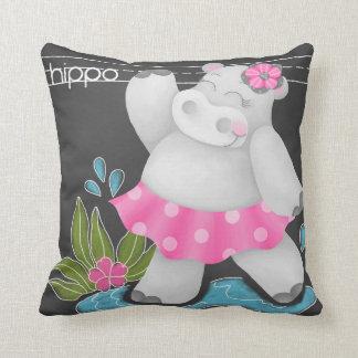 The Chalkboard Jungle - Hippo Pillow
