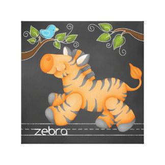 The Chalkboard Jungle: Zebra Canvas Print