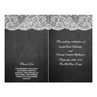 "The Chalkboard & Lace Wedding Collection Programs 8.5"" X 11"" Flyer"