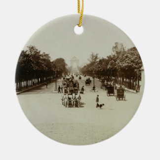 The Champs Elysees Paris sepia photo Christmas Tree Ornaments
