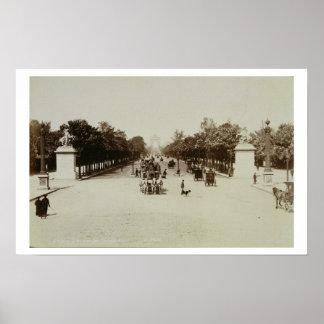 The Champs Elysees, Paris (sepia photo) Poster