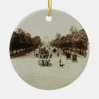 The Champs Elysees, Paris (sepia photo) Round Ceramic Decoration