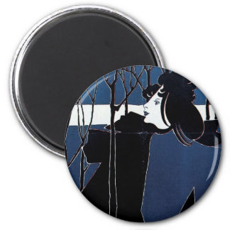 The Chap-Book ~ Blue Lady 6 Cm Round Magnet