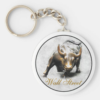 'The Charging Bull' - New York- Wall Street Basic Round Button Key Ring