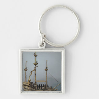 The Charles V automatic clock Silver-Colored Square Key Ring