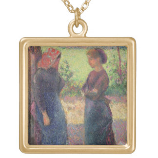The Chat, c.1892 (oil on canvas) Custom Necklace