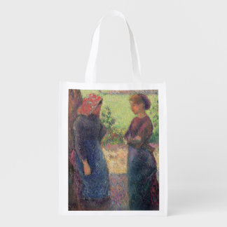 The Chat, c.1892 (oil on canvas) Reusable Grocery Bag