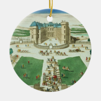 The Chateau Rambouillet, engraved by Antoine Aveli Round Ceramic Decoration