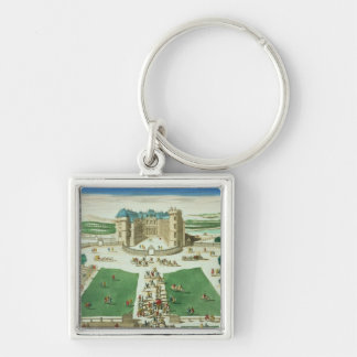 The Chateau Rambouillet, engraved by Antoine Aveli Silver-Colored Square Key Ring