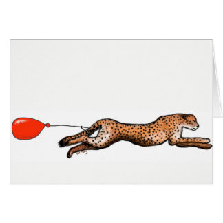 The Cheetah And The Red Balloon Birthday Card