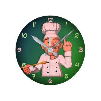 The Chef 6 Cartoon Style Round Clock
