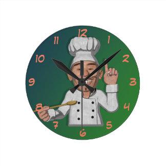 The Chef Cartoon Style Round Clock