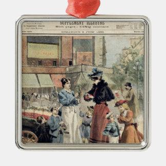 The Cherry Season Silver-Colored Square Decoration