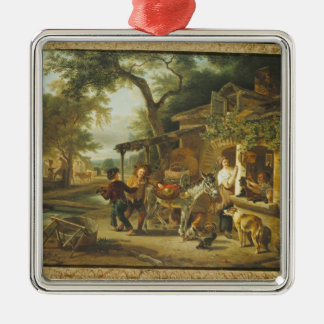 The Cherry Seller Silver-Colored Square Decoration