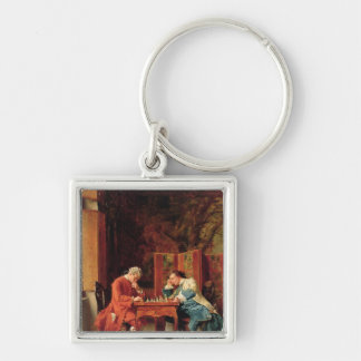 The Chess Players, 1856 Silver-Colored Square Key Ring