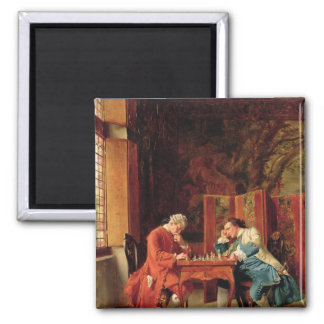 The Chess Players, 1856 Square Magnet