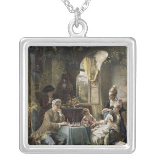 The Chess Players, 1887 2 Silver Plated Necklace