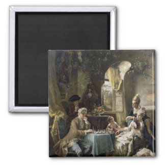 The Chess Players, 1887 2 Square Magnet