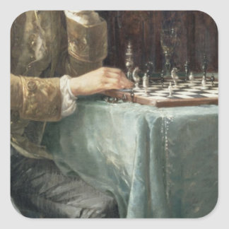 The Chess Players, 1887 Square Sticker