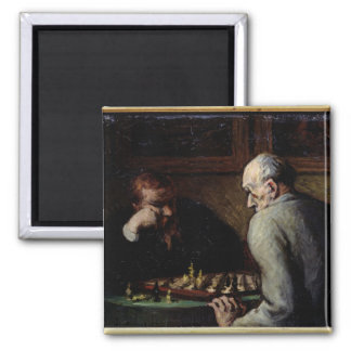 The Chess Players, c.1863-67 Square Magnet