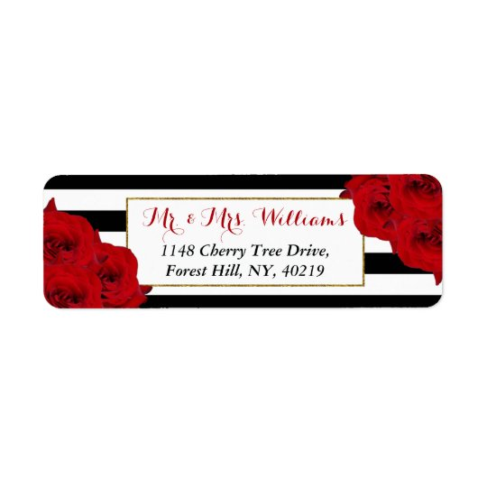 The Chic Modern Luxe Wedding Collection- Red Roses Return Address Label