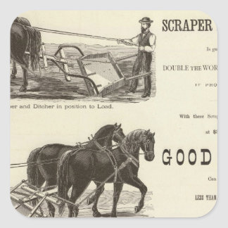 The Chicago Scraper and Ditcher Square Stickers